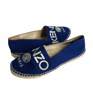 KENZO Womens Espadrille Flat Shoes Blue Beige 7 38